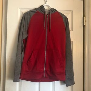 Red and grey zip up hoodie